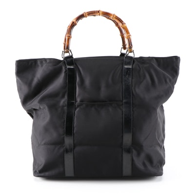 Gucci Bamboo Shopping Tote in Black Nylon and Patent Leather