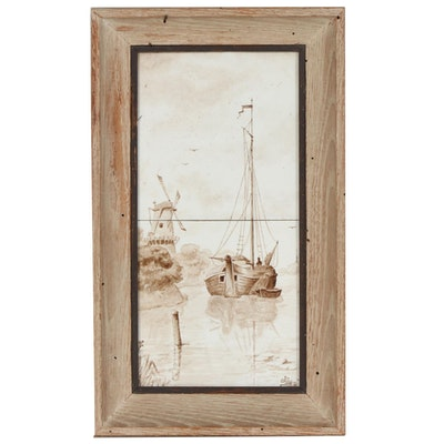 Delft Style Hand-Painted Porcelain Tile Wall Hanging