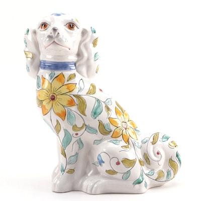 Italian Majolica Staffordshire Style Ceramic Spaniel