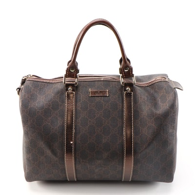 Gucci Joy Boston Bag in GG Supreme Canvas and Bronze Metallic Leather