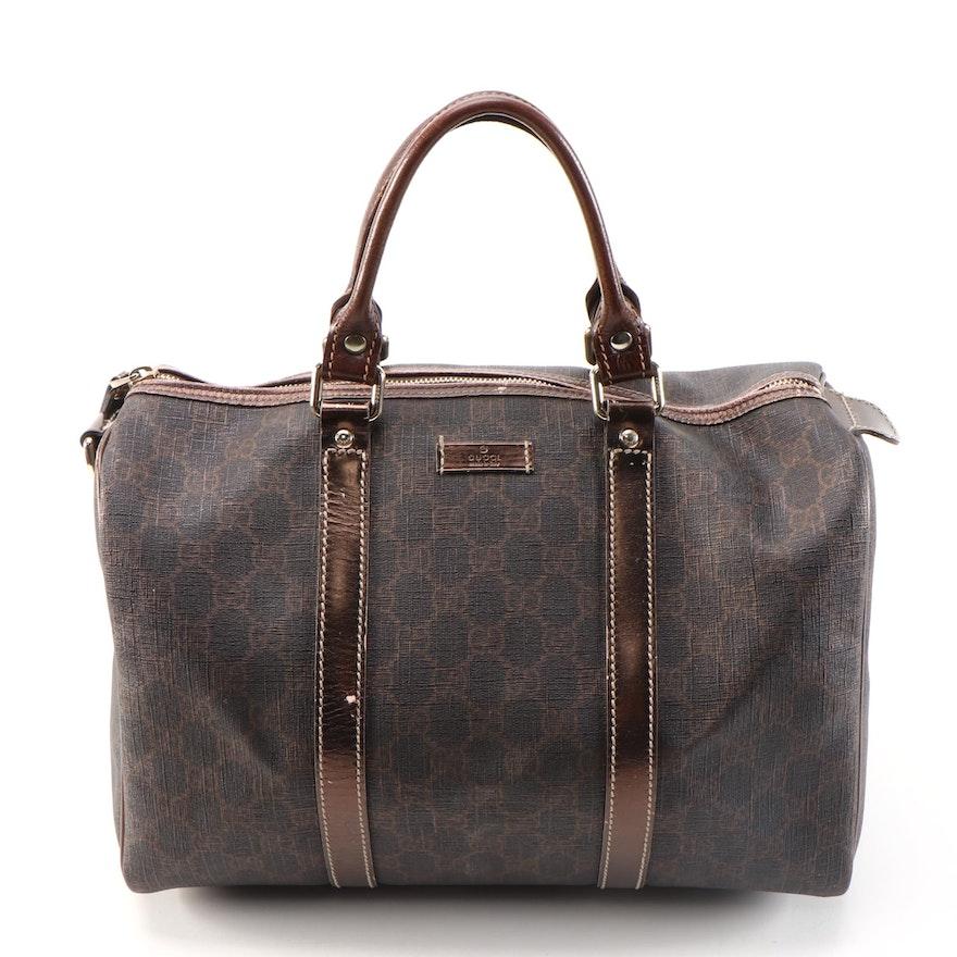 Gucci Joy Boston Bag in GG Supreme Canvas and Bronze Metallic Leather