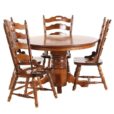Oak Dining Set with Ladder-Back Chairs, Late 20th Century