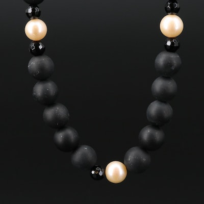 14K Gold Black Onyx and Pearl Necklace