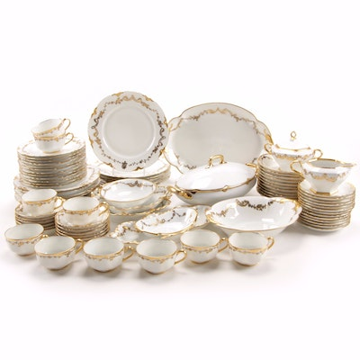 Hand-Painted Gilt Porcelain Dinnerware and Serveware, Early 20th Century