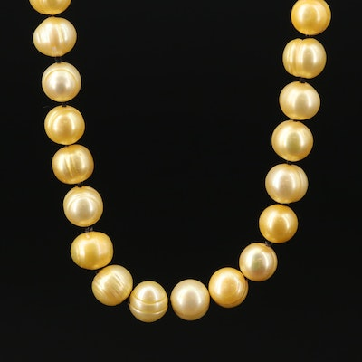 14K Gold Cultured Pearl Single Knot Necklace