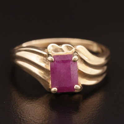 10K Ruby Ring Featuring Wavy Style Shank