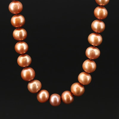 Cultured Pearl Knotted Necklace with 14K Clasp