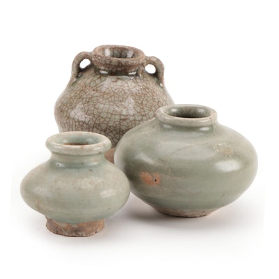 Late Ming Dynasty Celadon Glaze Ceramic Jarlets