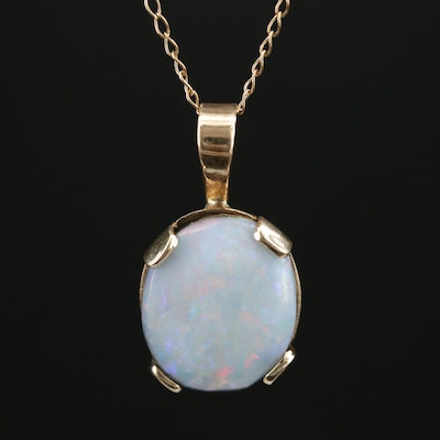 14K Opal Doublet Pendant Necklace