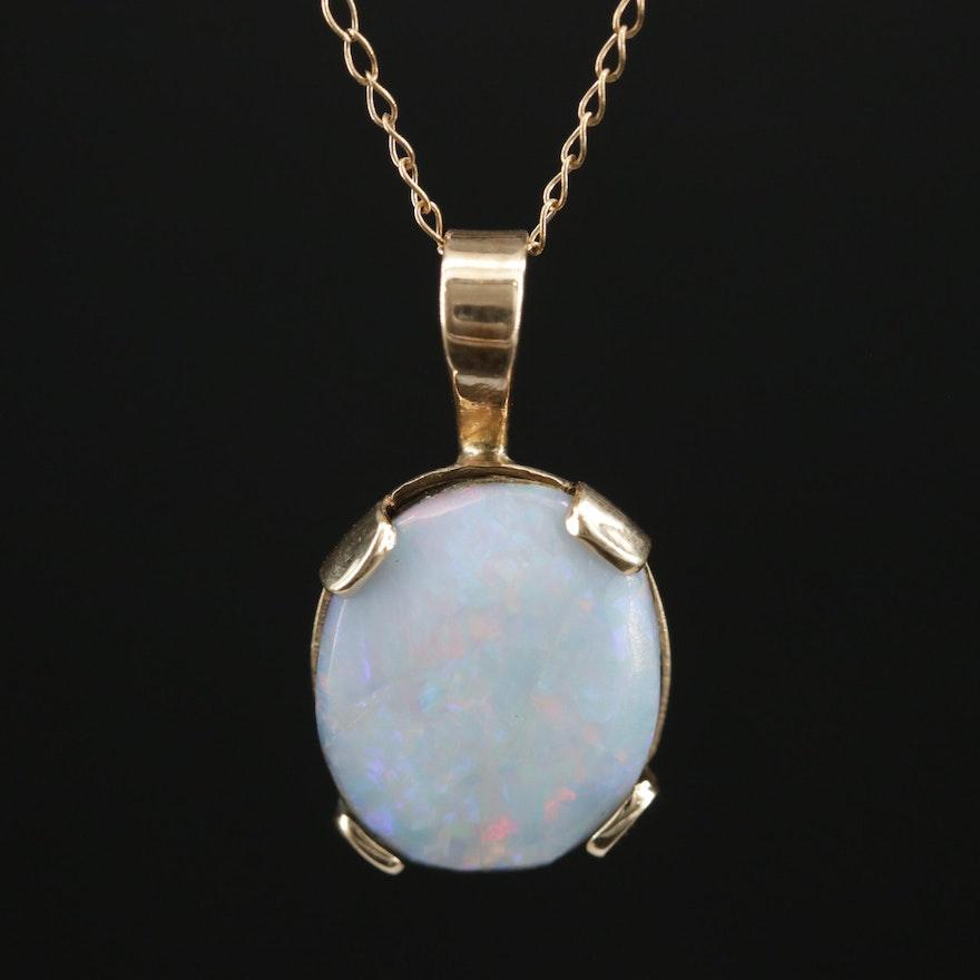 14K Opal Doublet Pendant Necklace