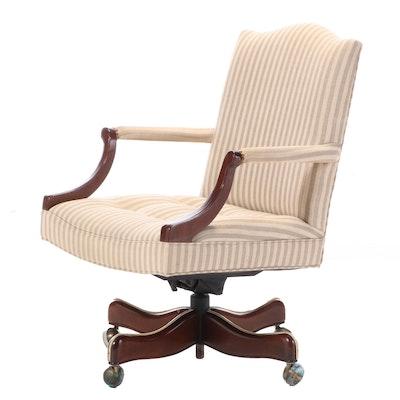 Hickory Chair Custom-Upholstered Mahogany Swivel-Tilt Desk Chair