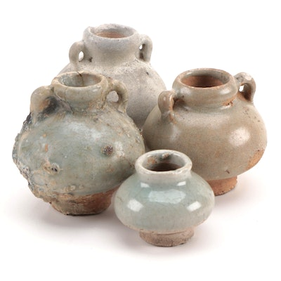 Late Ming Dynasty Lugged Celadon Glaze Ceramic Jarlets