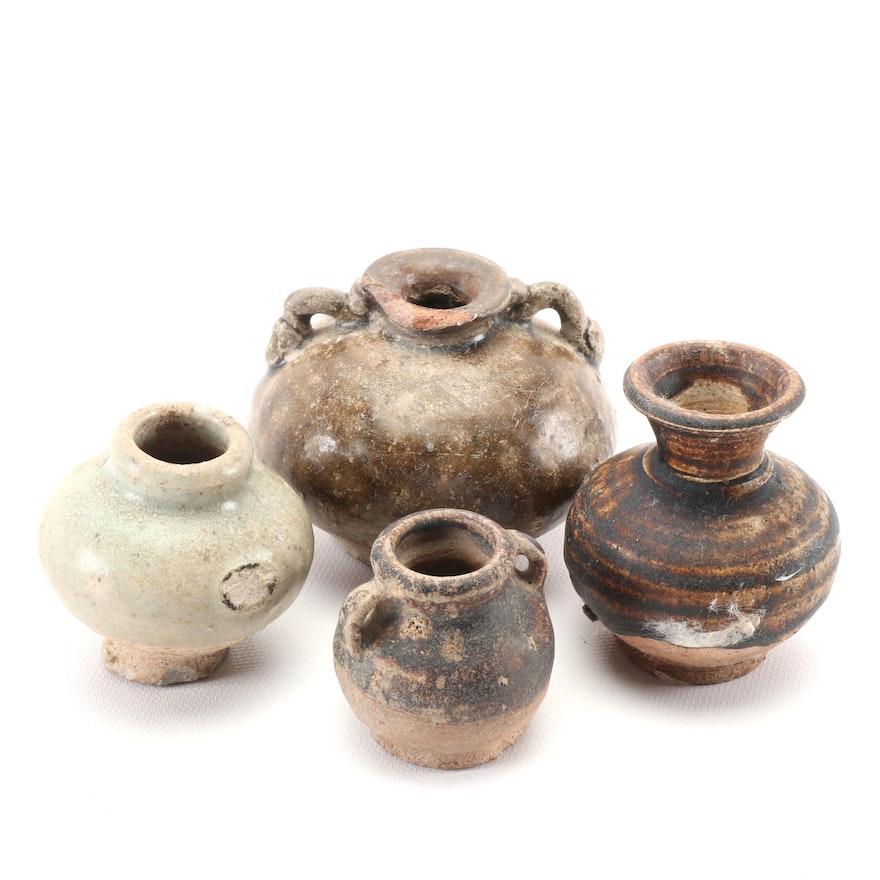 Thai Sawankhalok Ceramic Jarlets, Late Ming Dynasty