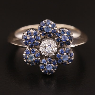 18K Diamond and Blue Sapphire Ring With Flower Design