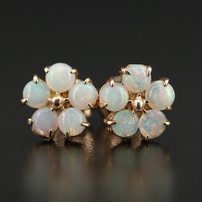 Opal Button Earrings with 10K Posts