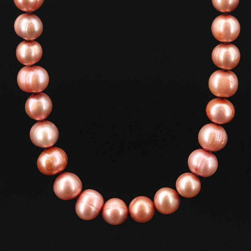 Cultured Pearl Semi Baroque Necklace with 14K Clasp