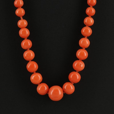 Coral Graduated Beaded Necklace with 14K Clasp