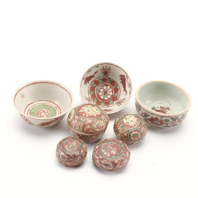 Chinese Porcelain Bowls and Jarlets, Late Ming Dynasty