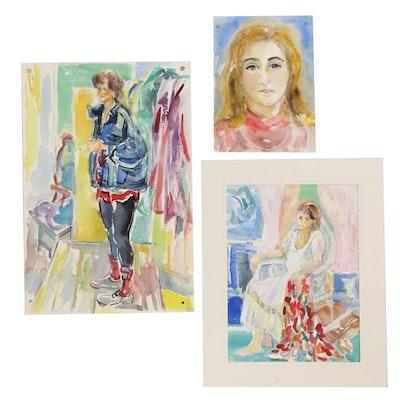 Yolanda Fusco Embellished Watercolor Paintings, Late 20th Century