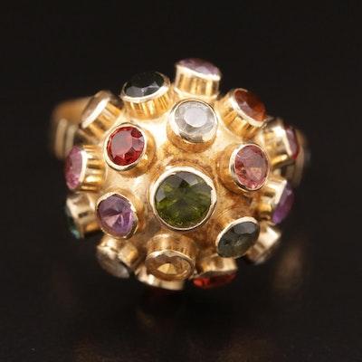 Vintage 18K Gold Aquamarine, Tourmaline and Gemstone Sputnick Ring