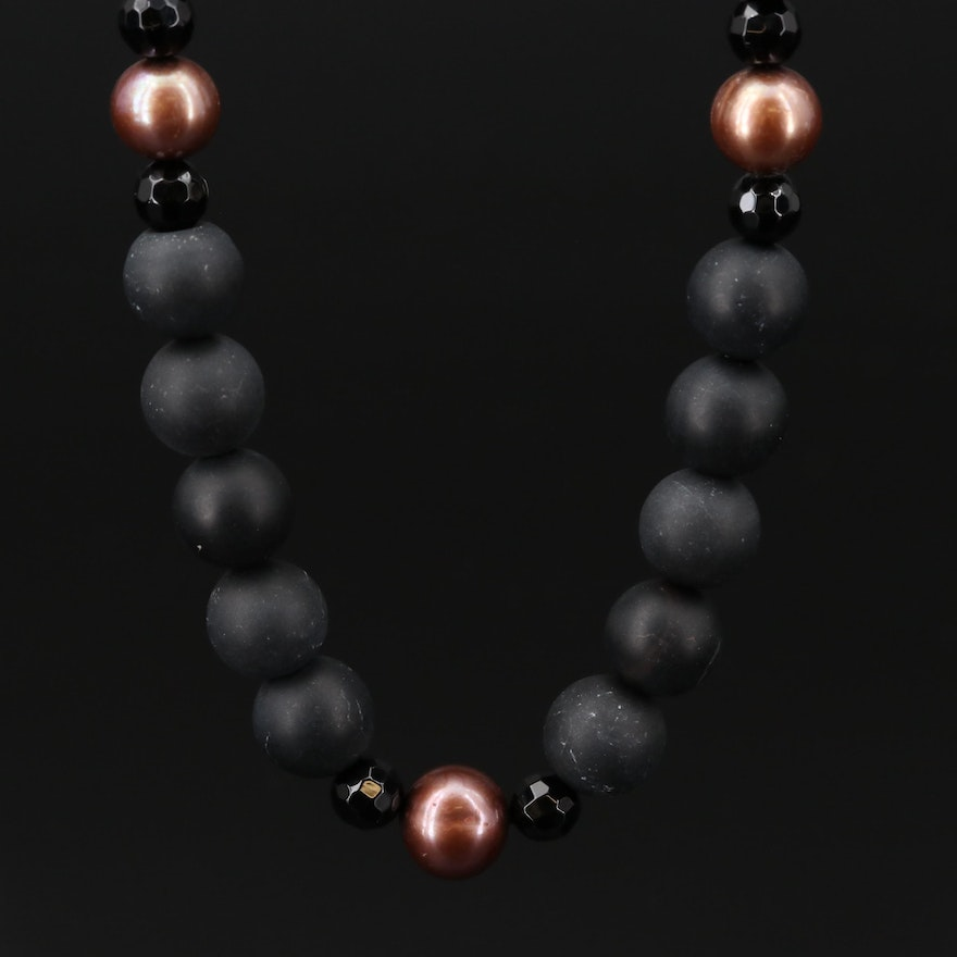 14K  Pearl and Onyx Necklace