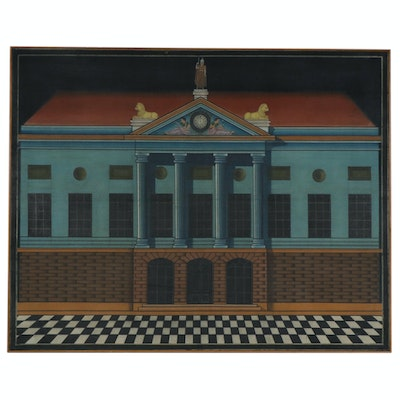 Monumental Acrylic Painting of Mansion, Mid 20th Century