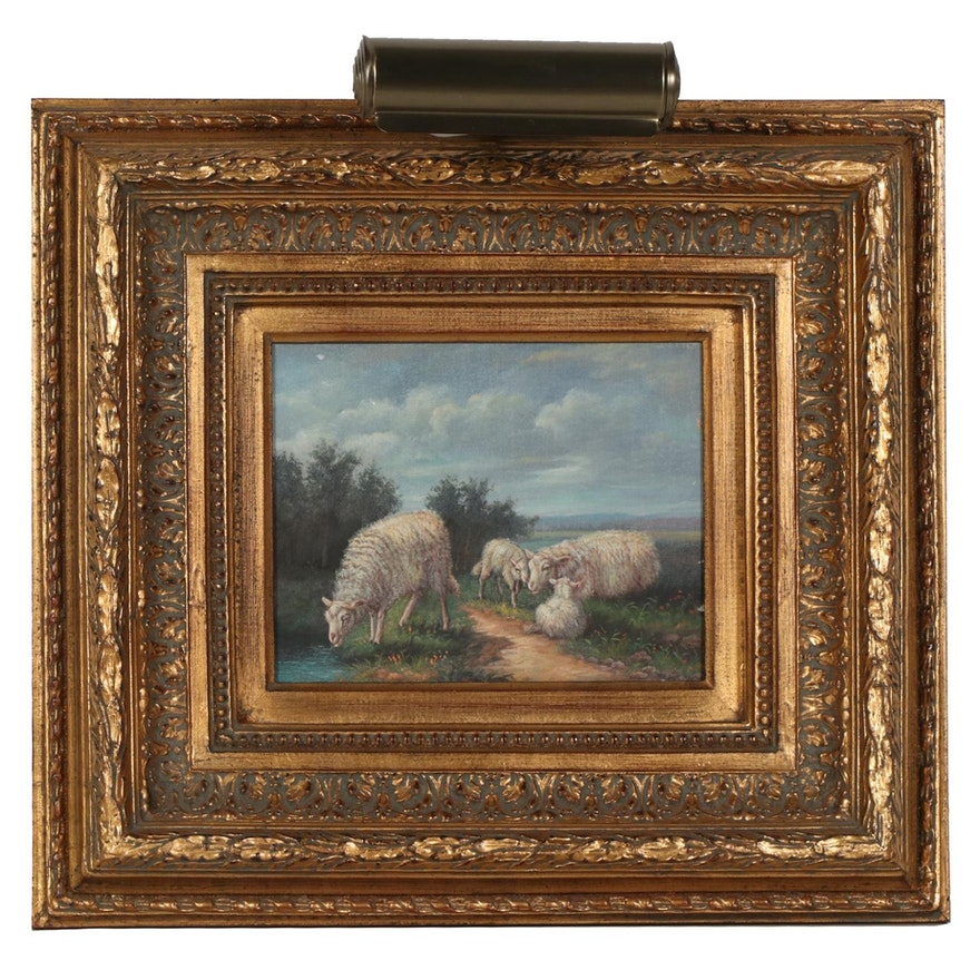 Landscape With Sheep Oil Painting