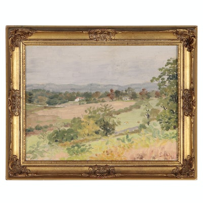 Countryside Landscape Oil Painting, Early to Mid 20th Century