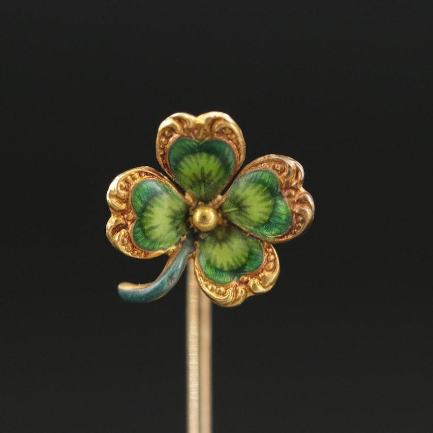 Art Nouveau Krementz 14K Gold Clover Stick Pin
