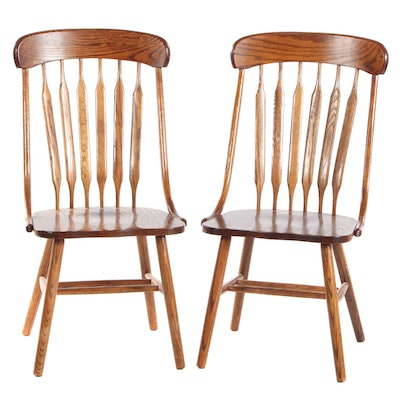 Pair of Shin-Lee Oak Spindle-Back Side Chairs