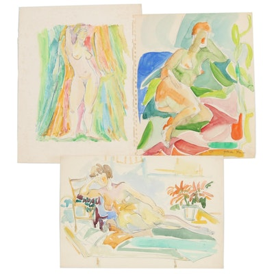 "Yolanda Fusco Watercolor Paintings and Monoprint ""Figure"""