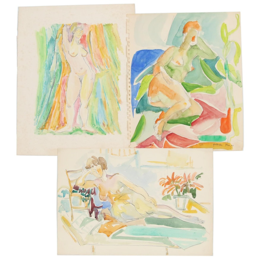 "Yolanda Fusco Watercolor Paintings and Monoprint ""Figure"""