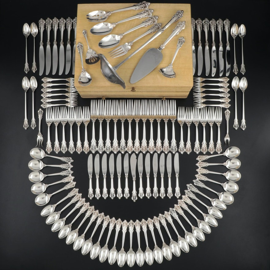 """Wallace """"Grande Baroque"""" Sterling Flatware with Chest, Mid/Late 20th Century"""