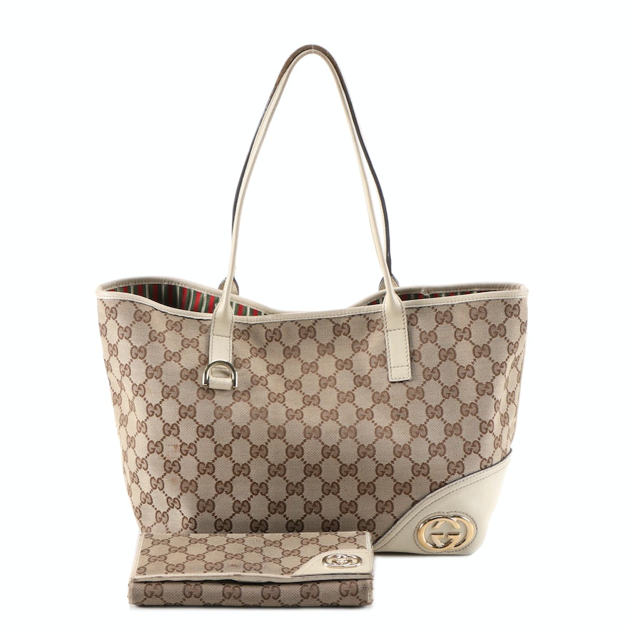 Gucci Britt Medium Tote Bag with Long Wallet in GG Canvas and Off-White Leather