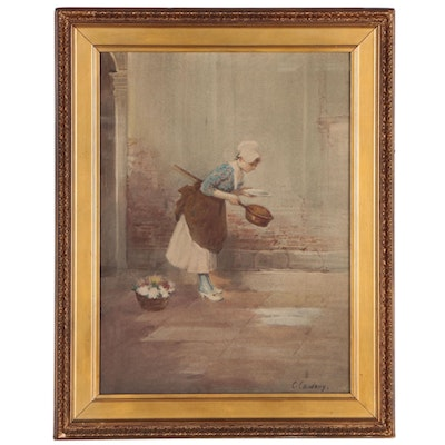 Figural Watercolor Painting of Woman with Bed Warmer