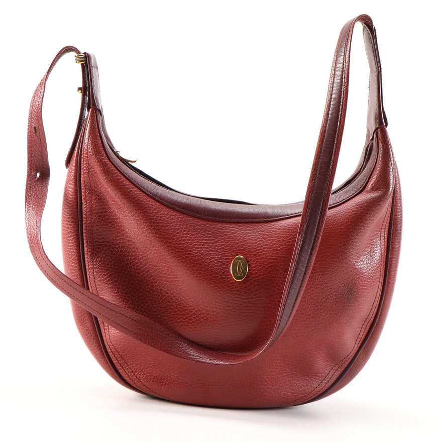 Must de Cartier Red Grained Leather Shoulder Bag with Burgundy Leather Trim