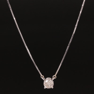 14K White Gold Diamond Solitaire Pendant necklace