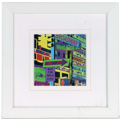 Pop Art Style Offset Lithograph of New York City Signage