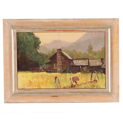 "Warren William Zimmer Farm Landscape Oil Painting ""Cades Cove, Smokeys"", 1978"