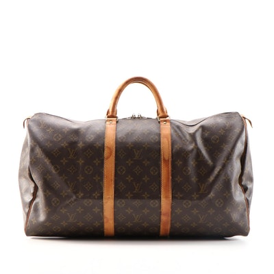 Louis Vuitton Keepall 55B in Monogram Canvas and Vachetta Leather