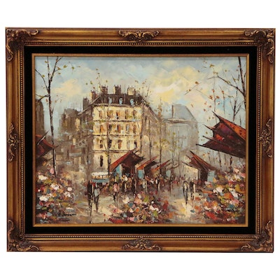 Parisian Flower Market Street Scene Oil Painting, Late 20th Century