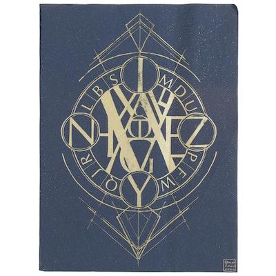 "Marlowe Lune Wesley Serigraph ""Astrolabe Alphabet"", 2019"