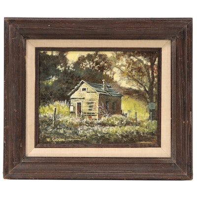 "Frederick Colbus Mixed Media Painting ""House at Benica"", Mid 20th Century"