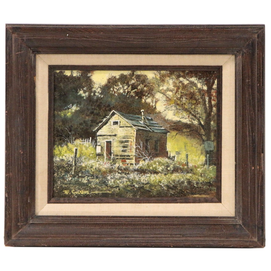 """Frederick Colbus Mixed Media Painting """"House at Benica"""", Mid 20th Century"""