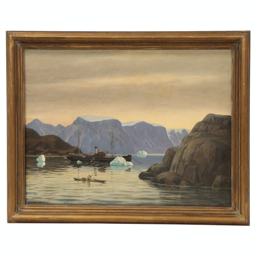 Emanuel Petersen Greenland Coastal Landscape Oil Painting
