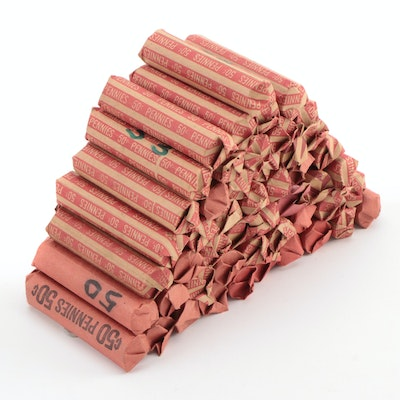 Fifty Rolls of Lincoln Wheat Cents from the 1940s and 1950s