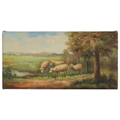 Landscape Oil Painting With Sheep
