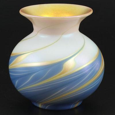 Lundberg Studios Swirled Iridescent Art Glass Vase, 2000