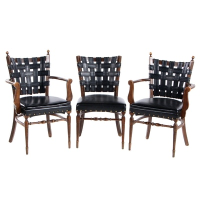 Three Mediterranean Style Vinyl Strap-Back Chairs