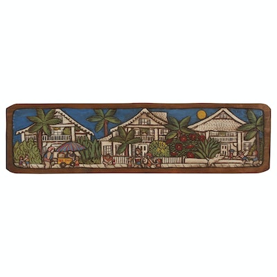 Dube Embellished Wooden Relief Panel of Street Scene